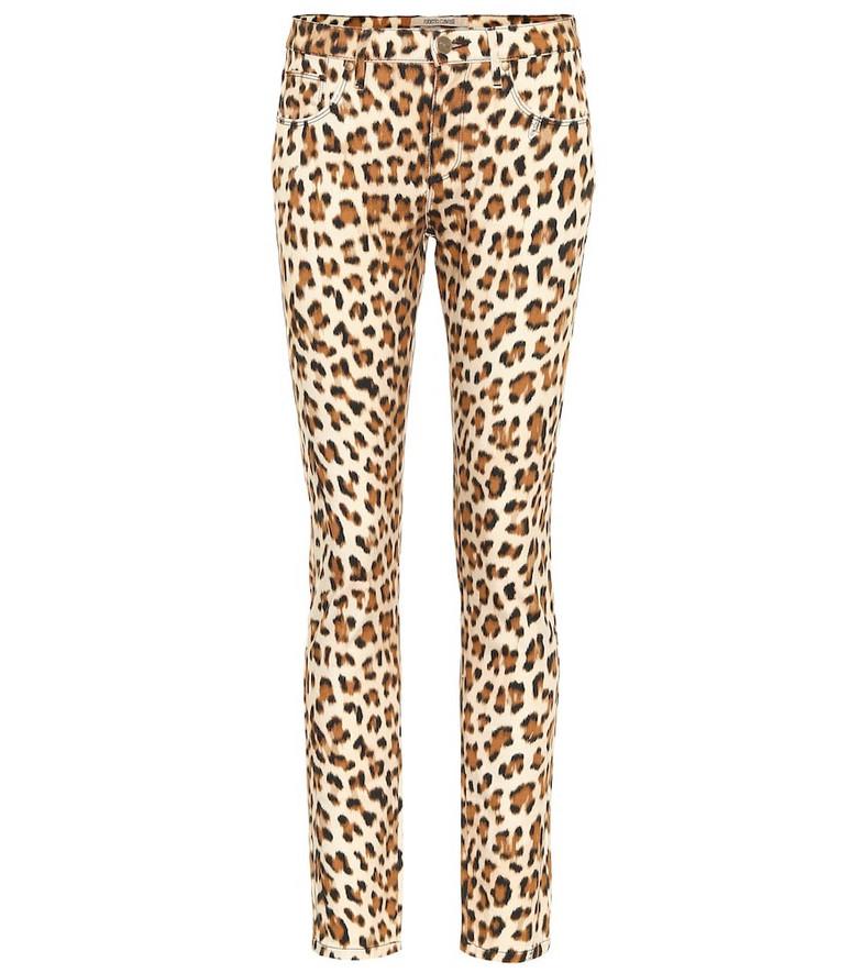Roberto Cavalli Leopard-print high-rise skinny jeans in beige