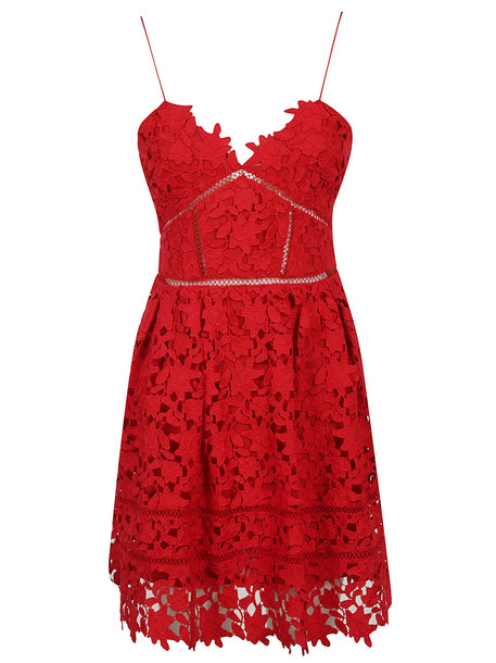 Self-portrait Embroidered Floral Dress in red