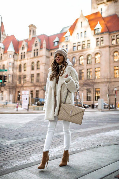 maria vizuete mia mia mine blogger coat shoes belt jacket sweater hat bag winter outfits faux fur jacket ysl bag beanie ankle boots