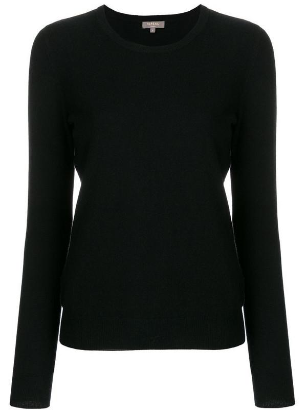 N.Peal cashmere round neck jumper in black