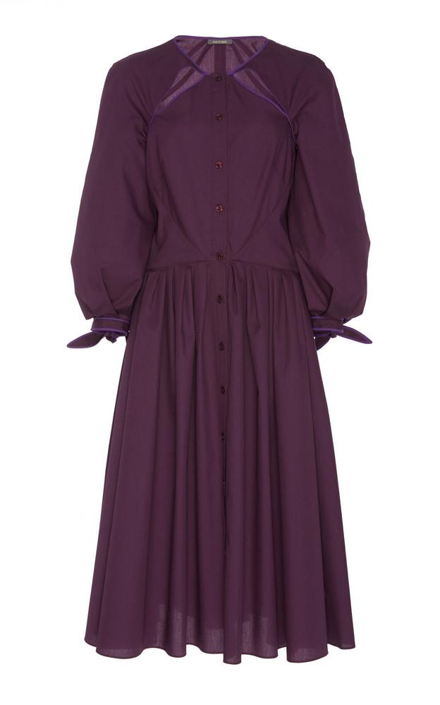 Zac Posen Cut Out Poplin Shirt Dress in purple