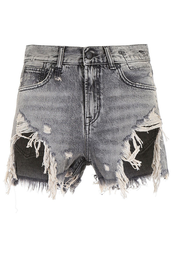 R13 Destroyed Shorts in black / grey