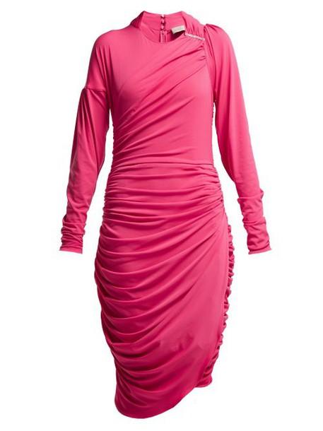 Preen By Thornton Bregazzi - Alexandra Crinkled Georgette Ruched Midi Dress - Womens - Pink