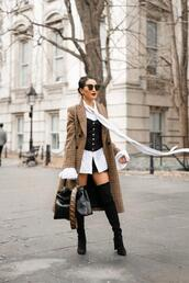 wendy's,lookbook,blogger,coat,top,shirt,shorts,shoes,bag,jewels,sunglasses,over the knee boots,long coat,double breasted,plaid,black boots,heel boots,black bag,fendi,black skirt,white shirt,corset