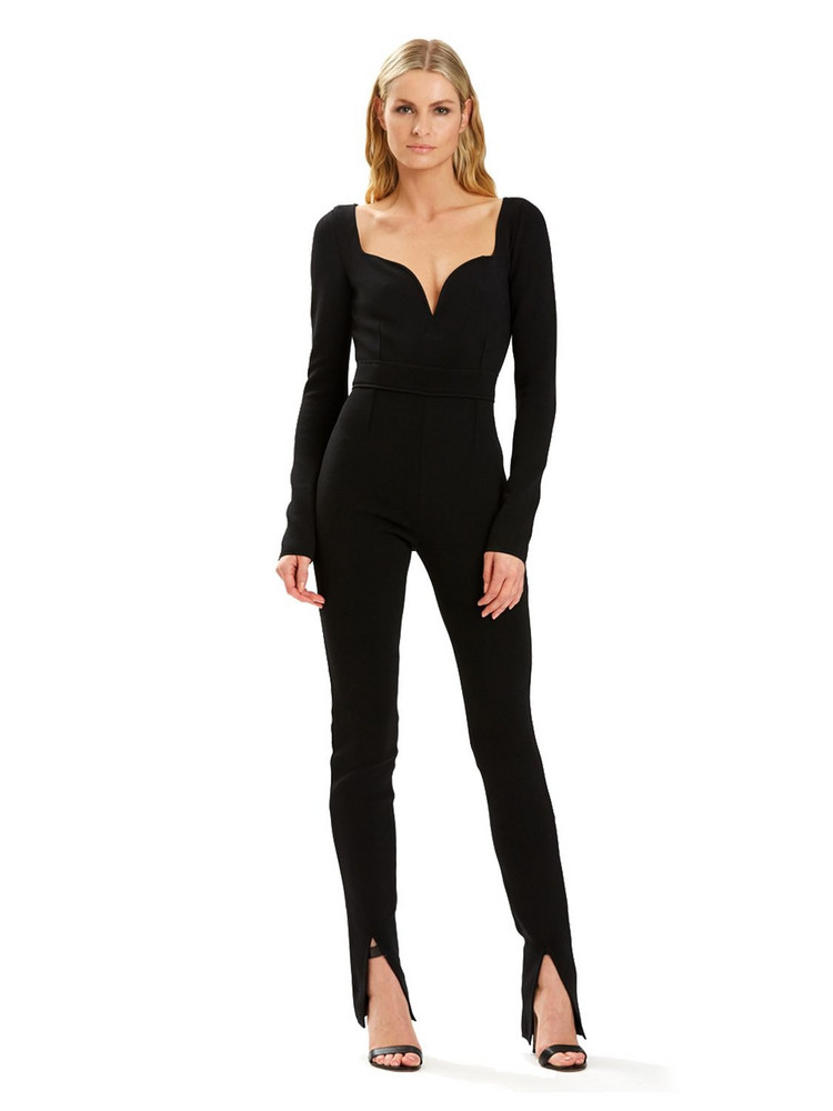 HERVÉ LÉGER Julia Rr Knit Sweetheart Jumpsuit in black