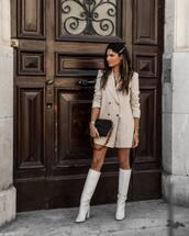 dress,blazer dress,stripes,mini dress,knee high boots,white boots,black bag