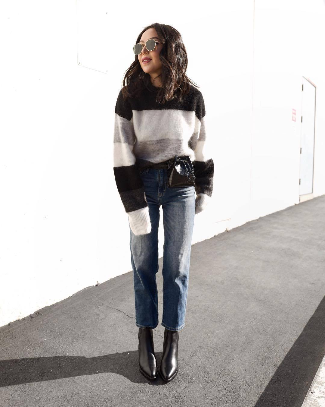 sweater striped sweater h&m black boots straight jeans high waisted jeans black belt