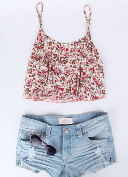 tank top flowers top crop tops shorts blue shorts