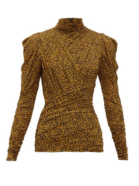 Isabel Marant - Jalford Ruched Roll Neck Top - Womens - Black Yellow