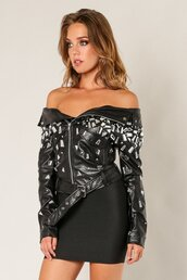 coat,mirrored jacket,shattered glass jacket,raquel romero,biker jacket,jacket,black leather jacket,leather jacket,motorcycle jacket,off the shoulder,off the shoulder jacket,shattered glass,black jacket,vue boutique