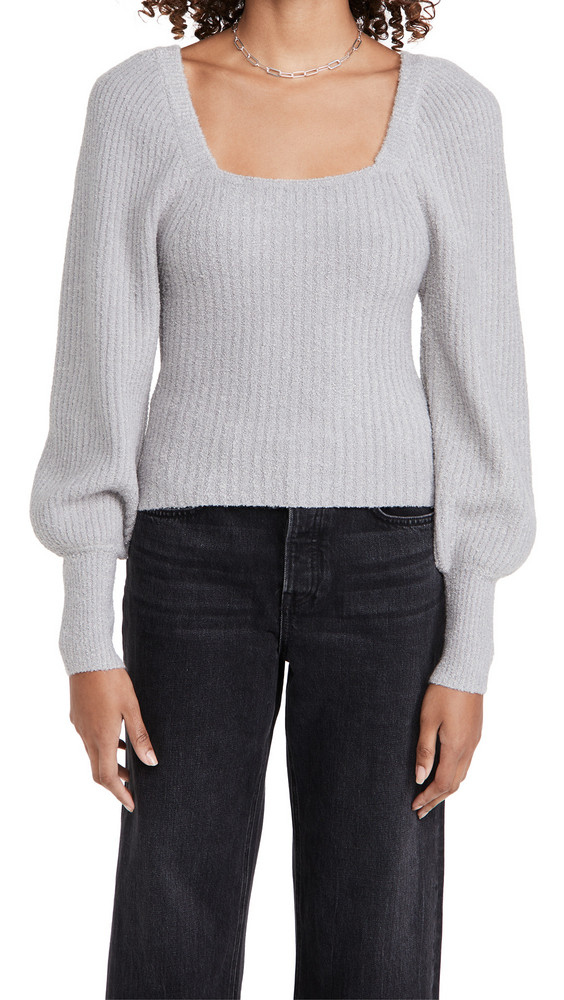 Line & Dot Kimberly Square Neck Ribbed Sweater in grey