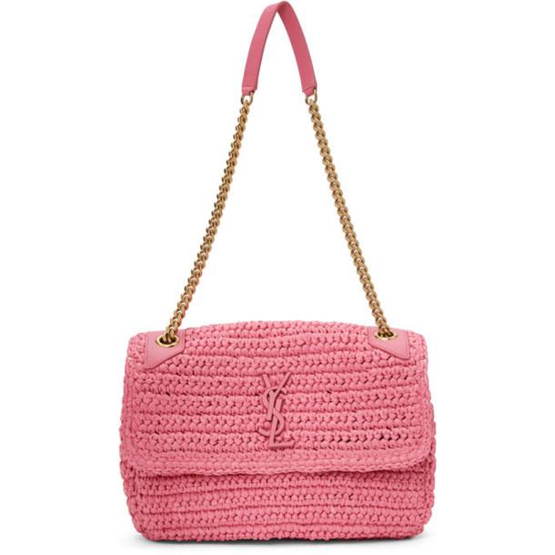 Saint Laurent Pink Medium Raffia Niki Bag