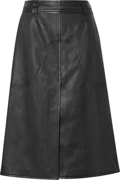 Courrèges - Belted Leather Skirt - Black