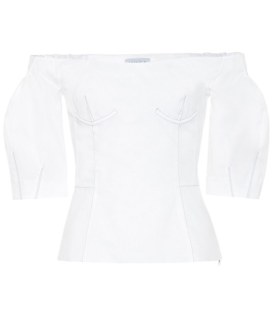Gabriela Hearst Melanie off-the-shoulder cotton top in white