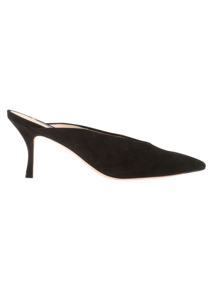 Stuart Weitzman Suede Leather Mule in black