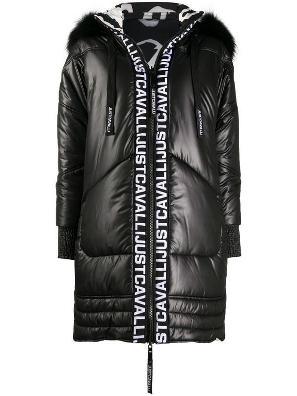 Just Cavalli hooded puffer jacket in black