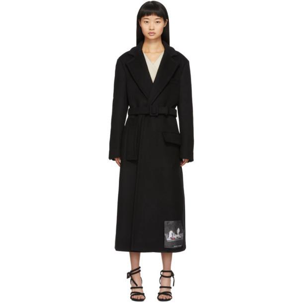 Off-White Black Two Layer Belt Coat