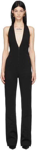 Saint Laurent Black Wool Halter Jumpsuit