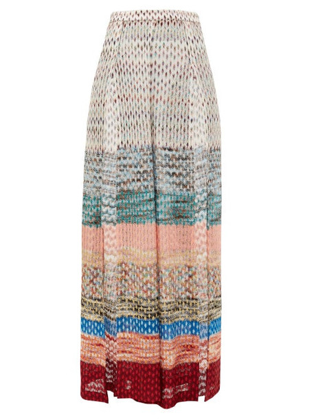 Missoni Mare - Side-slit Wide-leg Metallic-knit Trousers - Womens - Multi