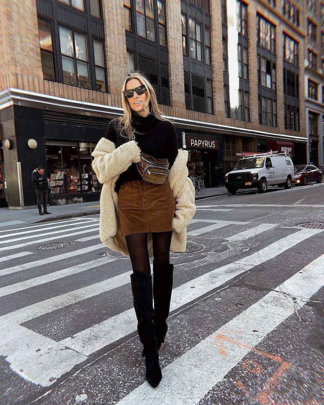 skirt mini skirt over the knee boots black boots tights black sweater turtleneck sweater teddy jacket belt bag