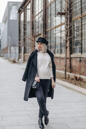stripes'n'vibes,blogger,sweater,jeans,coat,bag,hat,winter outfits,fisherman cap,black coat,ankle boots