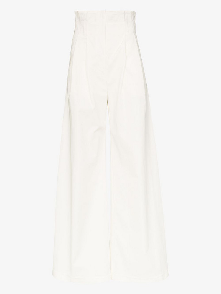 A.W.A.K.E. Mode Wide leg gathered waistband trousers in white