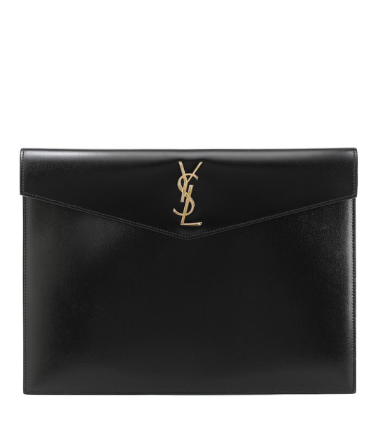 Saint Laurent Uptown Large leather clutch in black