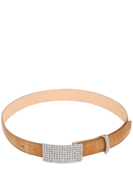 ALESSANDRA RICH 25mm Croc Embossed Leather Crystal Belt in sand