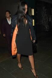 shoes,rihanna,celebrity,midi dress,black dress,pumps,bodycon dress