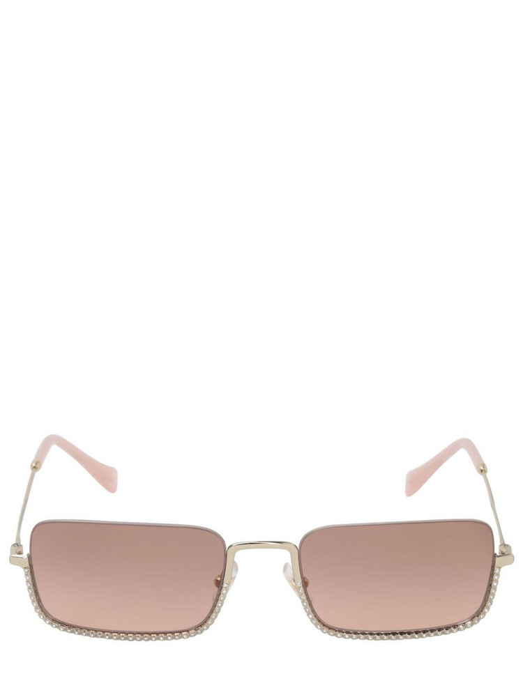 MIU MIU Squared Crystal Embellished Sunglasses in brown