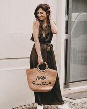 dress,maxi dress,one shoulder,ruffle dress,woven bag,white sneakers