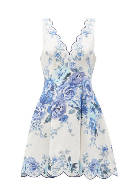 Zimmermann - Aliane Scalloped Floral-print Mini Dress - Womens - Blue White