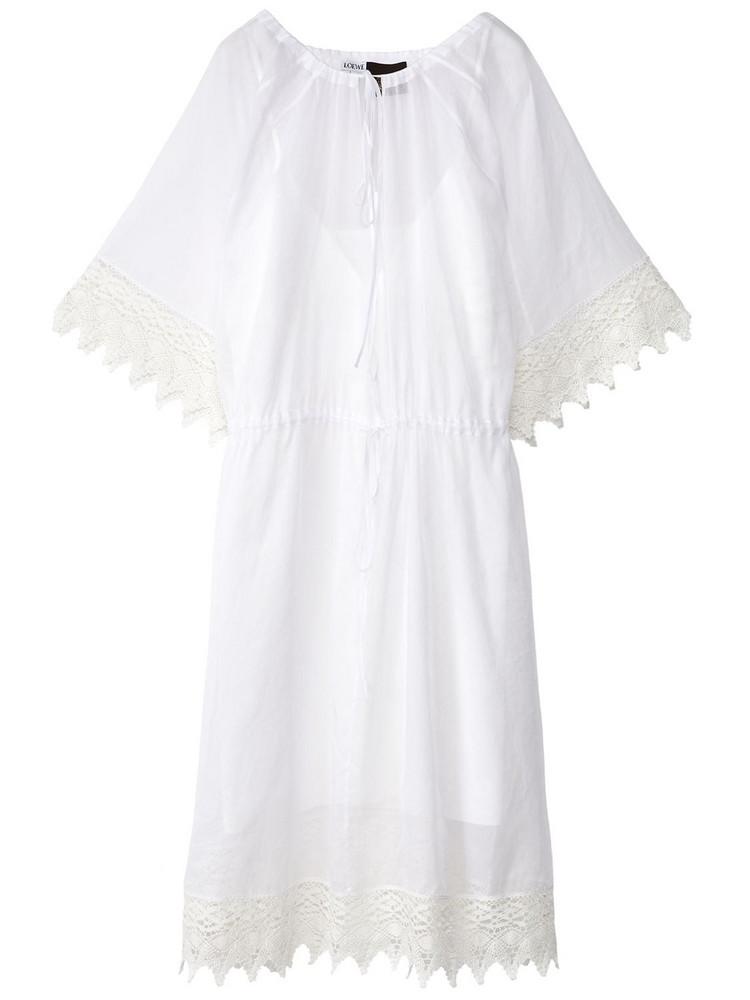 LOEWE Sheer Cotton Organdy & Macramé Dress in white