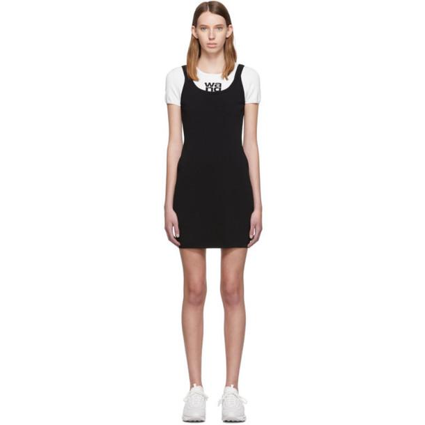 alexanderwang.t White & Black Sport Layering Logo Mini Dress