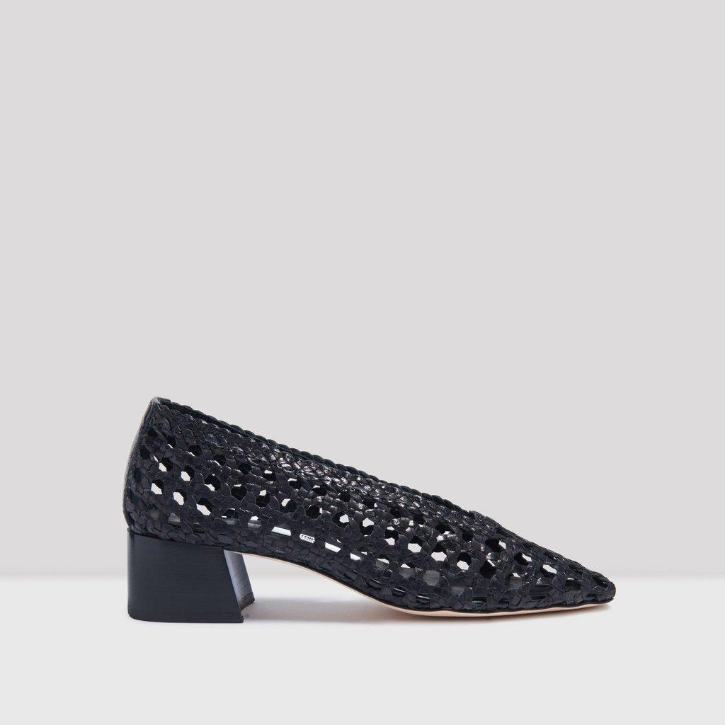 Taissa Black Woven Leather Heels