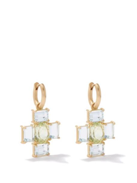 Irene Neuwirth - Gemmy Gem Aquamarine, Tourmaline & Gold Earrings - Womens - Gold Multi