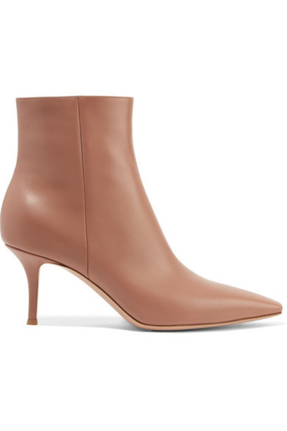 Gianvito Rossi - 70 Leather Ankle Boots - Taupe
