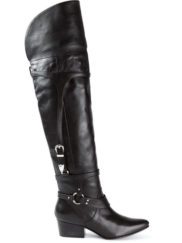 Toga thigh high boots in black