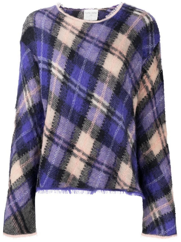 Forte Forte long-sleeved tartan check jumper in purple