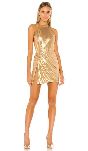 superdown Perrie Mini Dress in Metallic Gold