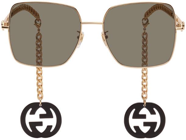 Gucci Gold & Black Square Chain Sunglasses