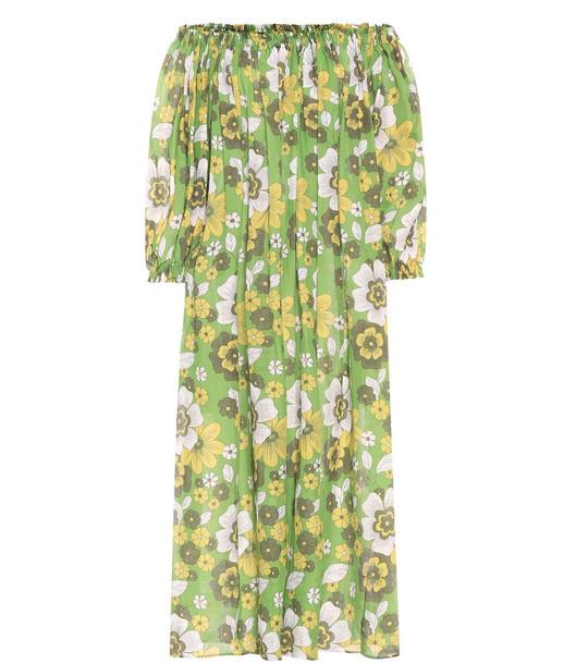 Dodo Bar Or Floral cotton midi dress in green