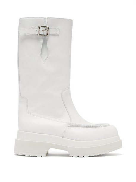 Mm6 Maison Margiela - Buckled Leather Boots - Womens - White
