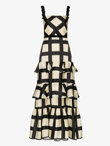 Johanna Ortiz Jewel strap ruffled check gown in black