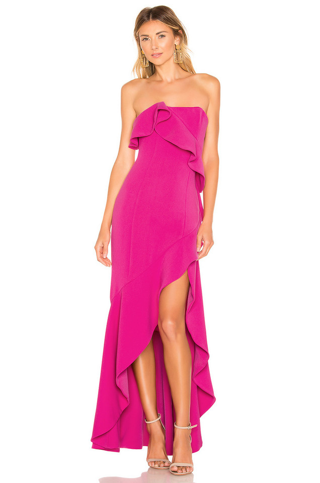 Lovers + Friends Tricia Gown in fuchsia