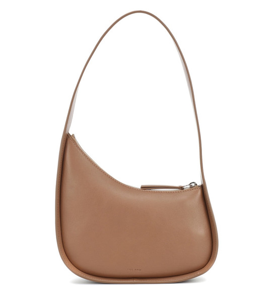 The Row Half Moon leather shoulder bag in brown
