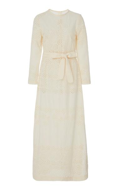 Innika Choo Etta Keet Belted Broderie Anglaise Cotton Midi Dress in ivory