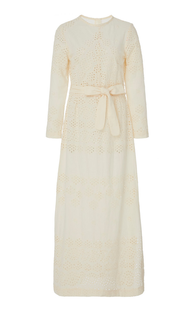Innika Choo Etta Keet Belted Broderie Anglaise Cotton Midi Dress in ivory