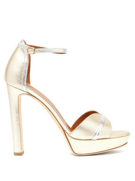Malone Souliers - Miranda Metallic Leather Platform Sandals - Womens - Gold