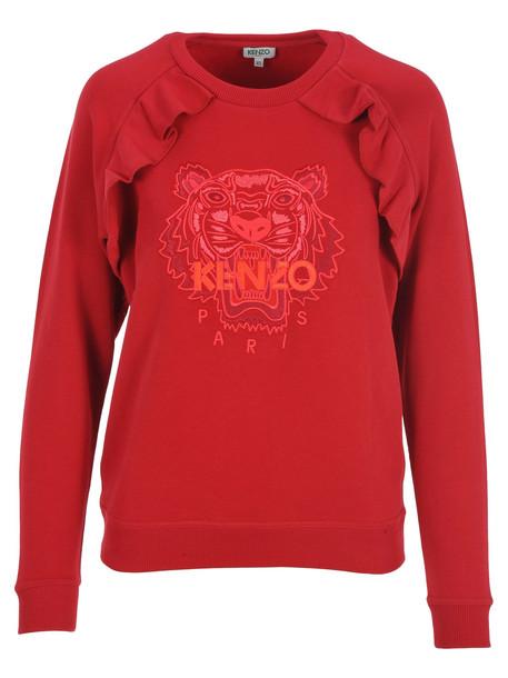 Kenzo Tiger Ruffle Sweatshirt in red